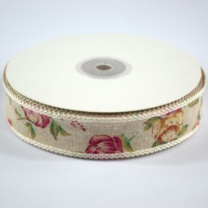 Linen Ribbon 25mm with Loop Edge Vintage Floral (18 Metres)