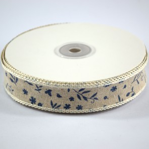 Linen Ribbon 25mm with Loop Edge Blue Foral (18 Metres)