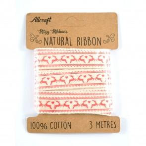 Cotton Ribbon 15mm Reindeer (3 Metres)