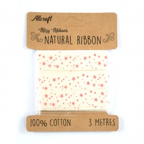 Cotton Ribbon 15mm Stars (3 Metres)