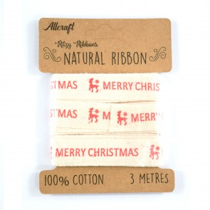 Cotton Ribbon 15mm Merry Christmas Reindeer (3 Metres)