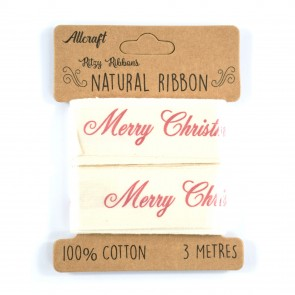 Cotton Ribbon 25mm Merry Christmas (3 Metres)