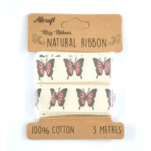 Cotton Ribbon 20mm Butterfly Pink (3 Metres)