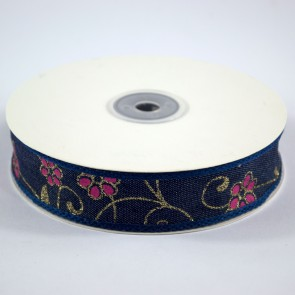 Denim Ribbon 25mm Floral Pink (18 Metres)