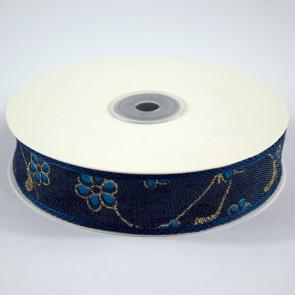 Denim Ribbon 25mm Floral Blue (18 Metres)