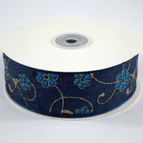 Denim Ribbon 40mm Floral Blue (18 Metres)