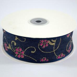 Denim Ribbon 40mm Floral Pink (18 Metres)