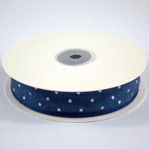 Denim Ribbon 25mm White Polka Dots (18 Metres)
