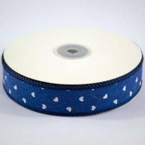 Denim Ribbon 25mm White Hearts (18 Metres)