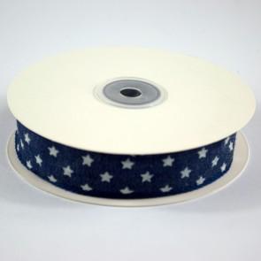 Denim Ribbon 25mm White Stars (18 Metres)