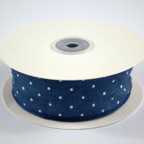 Denim Ribbon 40mm White Polka Dots (18 Metres)