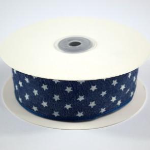 Denim Ribbon 40mm White Stars (18 Metres)