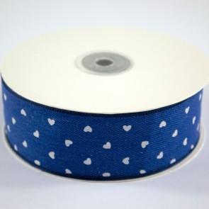 Denim Ribbon 40mm White Hearts (18 Metres)
