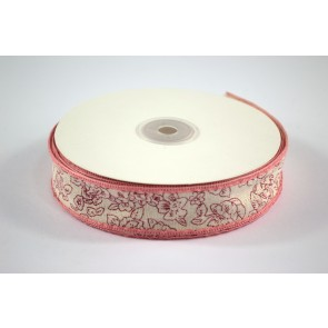 Ribbon 25mm Floral Outline Red (18 Metres)