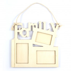Wood Frame with Handle Family 16.5 x 16cm