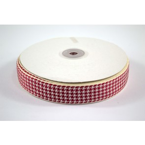 Houndstooth Ribbon 25mm Red (22.8 Metres)