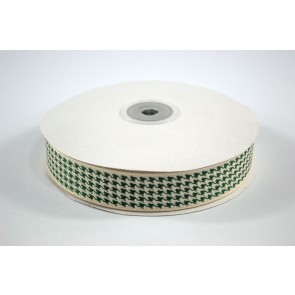 Houndstooth Ribbon 25mm Green (22.8 Metres)