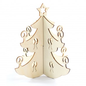 Lasercut Wood Christmas Tree 15.5 x 13.5cm