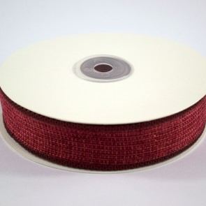 Faux Burlap Ribbon with Tinsel 25mm Red (18 Metres)