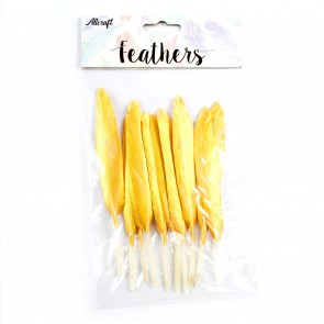 Goose Feather 14cm Gold (10 Pack)
