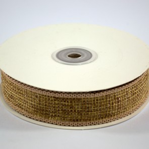 Faux Burlap Ribbon with Tinsel 25mm Gold (18 Metres)