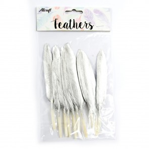 Goose Feather 14cm Silver (10 Pack)