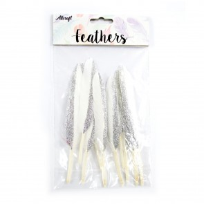 Goose Feather Glitter 14cm Silver (10 Pack)