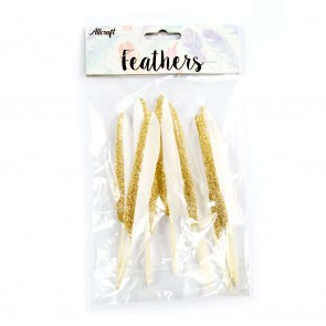 Goose Feather Glitter 14cm Gold (10 Pack)