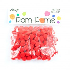 Pom-Pom 1.2cm Red (100 Pack)