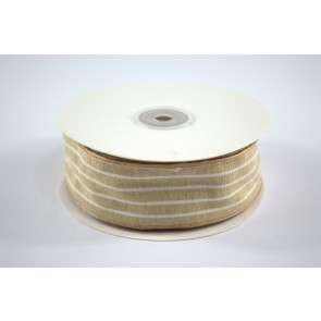 Faux Linen White Stripes Ribbon 40mm Cream (18 Metres)