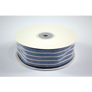Faux Linen White Stripes Ribbon 40mm Blue (18 Metres)