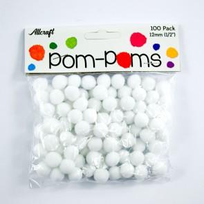 Pom-Pom 1.2cm White (100 Pack)
