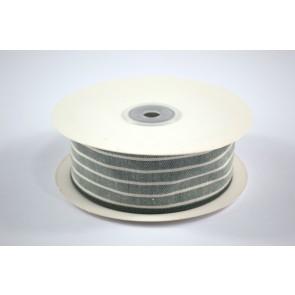 Faux Linen White Stripes Ribbon 40mm Green (18 Metres)