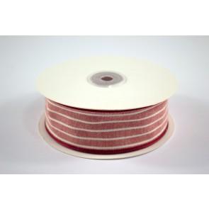 Faux Linen White Stripes Ribbon 40mm Red (18 Metres)