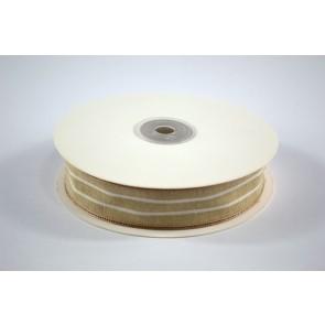 Faux Linen White Stripes Ribbon 25mm Cream (18 Metres)