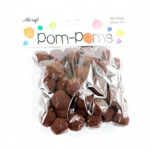 Pom-Pom 2.5cm Brown (40 Pack)