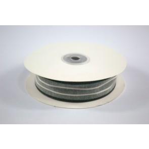 Faux Linen White Stripes Ribbon 25mm Green (18 Metres)