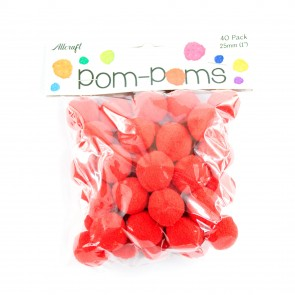 Pom-Pom 2.5cm Red (40 Pack)