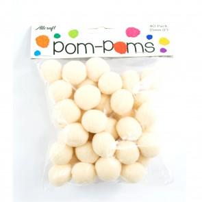 Pom-Pom 2.5cm Beige (40 Pack)