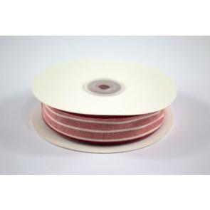 Faux Linen White Stripes Ribbon 25mm Red (18 Metres)