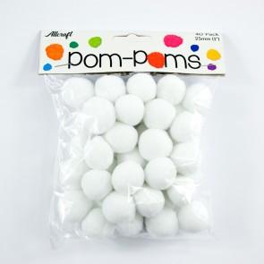 Pom-Pom 2.5cm White (40 Pack)