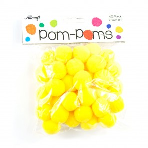 Pom-Pom 2.5cm Yellow (40 Pack)