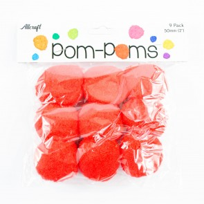 Pom-Pom 5cm Red (9 Pack)