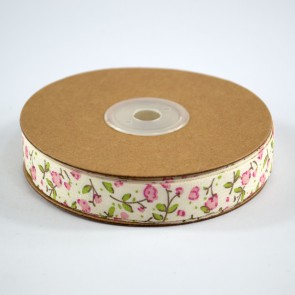 Cotton Ribbon 15mm Floral Pink (18 Metres)