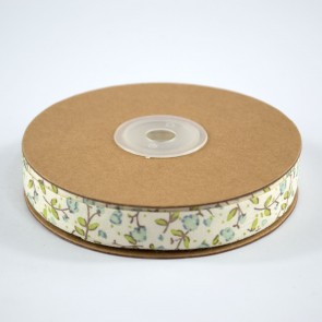 Cotton Ribbon 15mm Floral Blue (18 Metres)