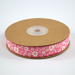 Cotton Ribbon 15mm Daisies Pink (18 Metres)