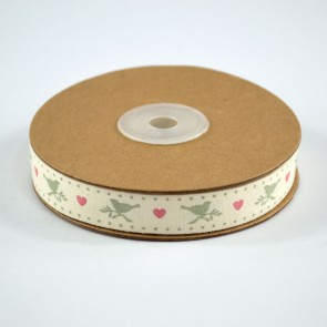 Cotton Ribbon 15mm Dotted Dove (18 Metres)