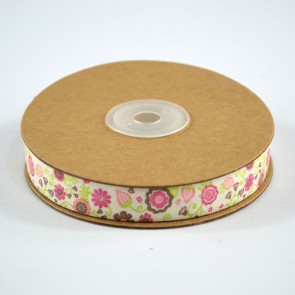 Cotton Ribbon 15mm Fun Flowers Pink (18 Metres)