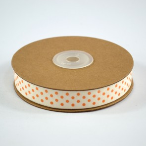 Cotton Ribbon 15mm Polka Dots Orange (18 Metres)