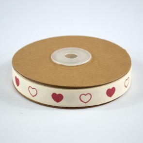 Cotton Ribbon 15mm Hearts (18 Metres)